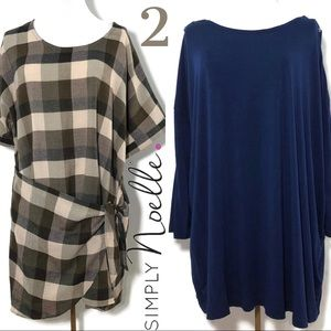 2 Simple Noelle Fall/Winter Tunic Tops Plaid Solid
